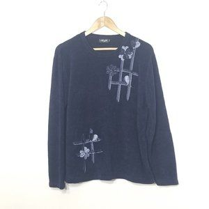 Moffi | Navy Blue Knit Crew Neck Pullover Sweater